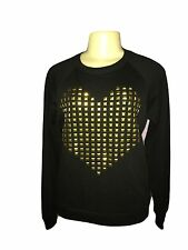Forever 21 Women's Black Gold Studded Top Long Sleeve Cotton Blend Regular S