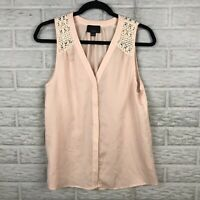 Lumiere Women Blouse Small Crochet High Low Button Pink Sleeveless Pleating