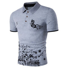 Fashion Butterfly Floral Print Patchwork ButtonT-Shirts - Gray