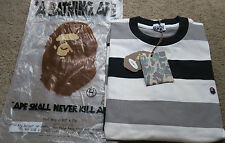 A Bathing Ape Embroidered Logo Striped Long Sleeve Shirt Nigo Vintage Bapesta