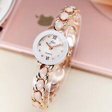 Rose Gold Plated Simulated Opal Rhinestone Women's Dress Bracelet Quartz Watches