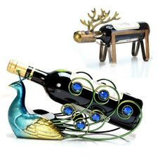Modern Wine Holder Rack Bottle Stand Peacock Shelf Metal Cabinet Ornament Xmas