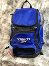 New Speedo Large Teamster Backpack Swim Bag 35L Dirt Bag Seating Pad Blue Black