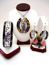 """Brighton """"BLOC PARTY"""" Tortoise Necklace-Earring-Bracelet Set (MR$204) NWT/Pouch"""
