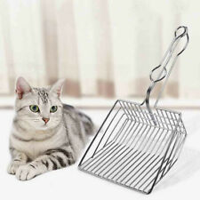 Pet Cat Toilet Litter Scoops Metal Cats Cleaning Kitten Hollow Shovel Chrome NEW