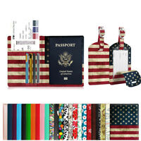 RFID Blocking Passport Holder Travel Wallet Case Cover & Luggage Tags Name Label