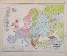 1889 MAP EUROPE LANGUAGE MAP TEUTONIC ITALIC SLAVONIC KELTIC IRANIC