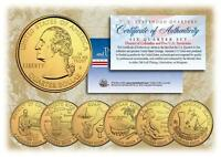 2009 GOLD US Mint TERRITORIES Quarters * Complete Set of 6 Coins * with Capsules
