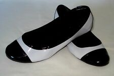 SCHUTZ FLATS WOMEN SHOES LEATHER PATENT BLACK AND WHITE SIZE 5 MADE IN BRAZIL