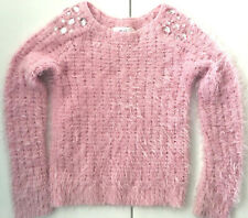 Justice Girls Pink Fuzzy Sweater Size 7 Gemstone Embellished Cable Knit