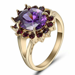 Size 8 Purple Amethyst Crystal Ring 10Kt Yellow Gold Filled Engagement Weddingd