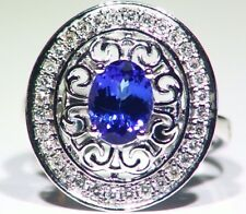 1.90CT 14K Gold Natural Tanzanite Diamond Vintage AAA Antique Engagement Ring