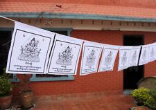 Chenrezig Printed Tibetan Prayer Flag, All White Chenrezig Cotton Prayer Flag