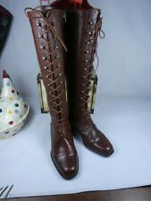 Ladies Bally Gifolia Long Military style Lace up / zip boots, Conker bro 2.5 VGC