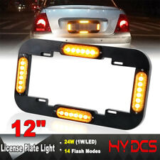 "12"" 24 Led Number License Plate Lamp Flash Warning Strobe Lights Amber Yellow"