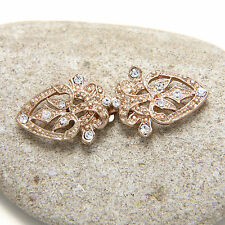 Vintage Gold Tone Diamante Rhinestone Crystal Wrap Sweater Hook and Eye Clasp
