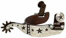 Youth Kids Childs Showman Antique Brown STARS 9PT Rowel Spurs Show Barrel Racing