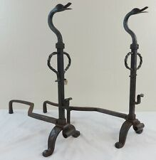 Antique Pair of Decorative Hand Wrought Iron Andirons Fancy Work Duck Heads