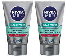 2 x Nivea Men Clear Effect Volcanic Mud Foam Face Wash 100mL