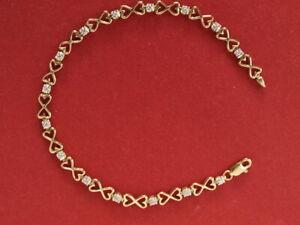 "Solid 9ct gold diamond tennis bracelet 3.80 grams 7"" 18cm long"