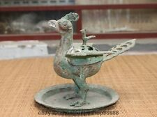 Chinese Dynasty old Bronze Silver-Gilt Suzaku Phoenix Bird incense burner censer
