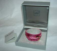 LALIQUE Paris France Pink Foil Leather Double Wrap Bracelet for Charm New in Box