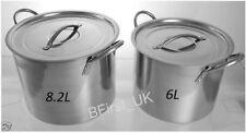 Set of 2 Piece Stainless Steel Deep Stock Soup Pot Set 6 Ltr & 8.2 Ltr Stockpot