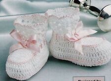 Crochet Pattern ~ BABY LACE EDGED BOOTIES ~ Instructions