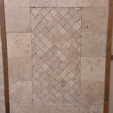 Cobblestone Travertine Tumbled Paver Tile 100x100x30mm On 300x300 Sheets Premium