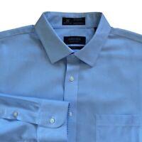 Nordstrom Mens Dress Shirt Blue Textured Trim Fit Wrinkle Free 16.5 34-35