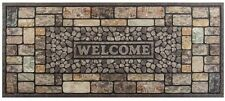 Welcome Rubber Door Mat Pebbles Stone Outdoor Heavy Duty Dirt Debris Mud Large
