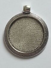 New 25MM Round Tibetan Antique Silver Plated Cabochon Setting Pendant 1PC. DIY