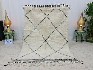 """Moroccan Beni Ourain Handmade Rug 4'4""""x6'5"""" Geometric Berber White Black Rug"""