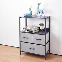 Bedroom Fabric Dresser Tower Storage Chest Organizer Unit with 3 Drawers Grey