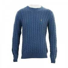 Men's Chunky, Cable Knit Knit Striped Crew Neck Regular Jumpers & Cardigans