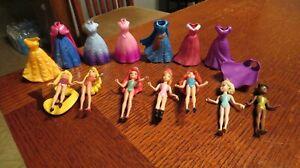 Disney Princess Magiclip Magic Clip Polly Pocket Lot Dolls &  Dresses Elsa, Anna