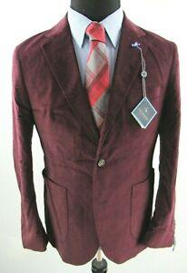 TAILORBYRD Velvet Stretch Sangria Burgundy Red Sport Jacket Mens 40R 40 $295