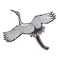 DIY Crane Bird Embroidered Patches Sew Iron-on Badge Jeans Clothes Applique