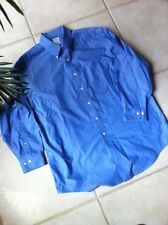 BROOKS BROTHERS Shirt Mens 17 Dress Button-Down Long Sleeve Cotton Blue
