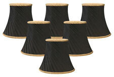 "Royal Designs – 5"" Twisted Bell Chandelier Lamp Shades – Black – Set of 6"