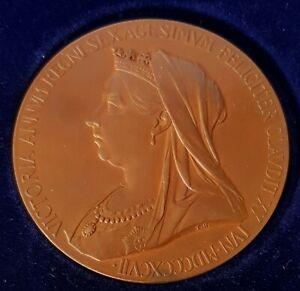 1837-1897 VICTORIA DIAMOND JUBILEE BRONZE MEDAL MED08 UNC 56 MM BY T BROCK