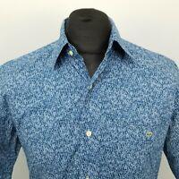 Lacoste Mens Vintage Shirt 39 MEDIUM Blue Regular Fit Abstract Cotton