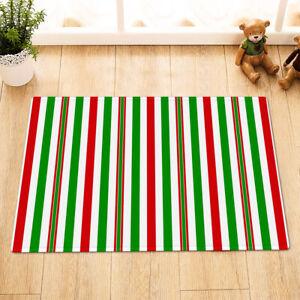 Christmas Creative Red and Green Stripes Shower Curtain Set Bathroom Decor 180cm