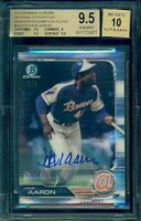 2019 Bowman Chrome Hank Aaron National Wrapper Red. Refractor Auto /4 BGS 9.5 10