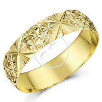 9ct Yellow Gold Ring Heavy Weight Court Shaped Diamond Cut Wedding Band