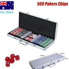 500 Chipset Poker Game Play Chip Set Casino Chips Dice Gamble Cards AU STOCK