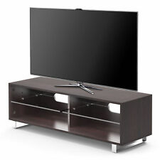 1home Wood TV Stand Glass Shelf fits for 32-60 inch LED LCD Flat Screen Walnut
