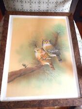 """Justiniano Pires, E.A. Artist's Proof. Signed Framed &  Matted Lithograph """"Owls"""""""