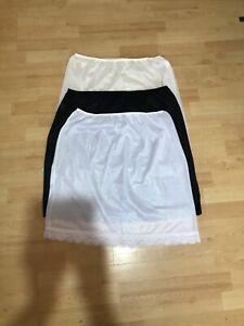"Half slip petticoat underskirt white/cream/black soft lace sizes 8-20 lgth 23"""