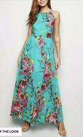 NEW LOOK Blue Vanilla Mint Green Floral Maxi Dress - Size  XS or 6/8